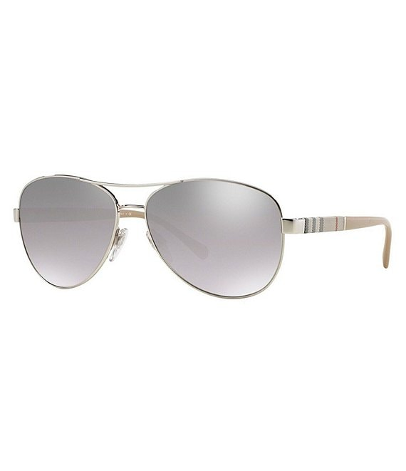 Burberry Aviator Mirrored Lens Sunglasses