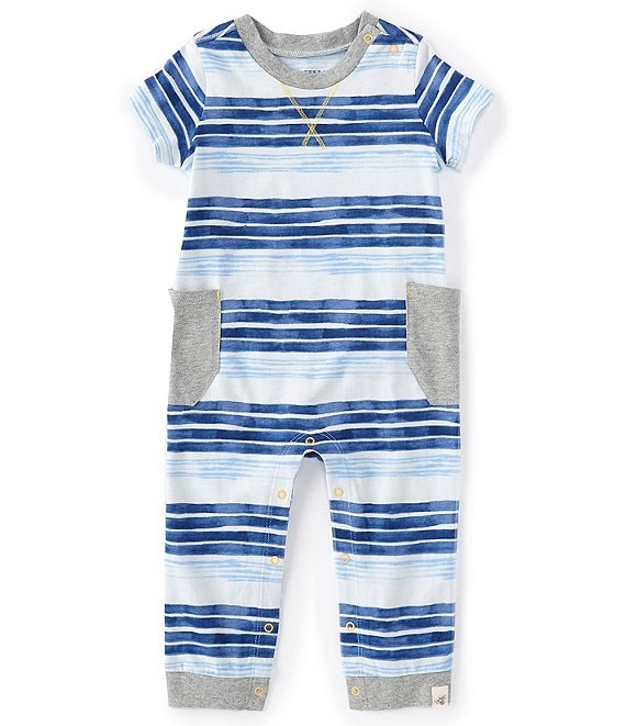 Burt's Bees Baby Boys Newborn-24 Months Short-Sleeve Painted Stripe Coverall