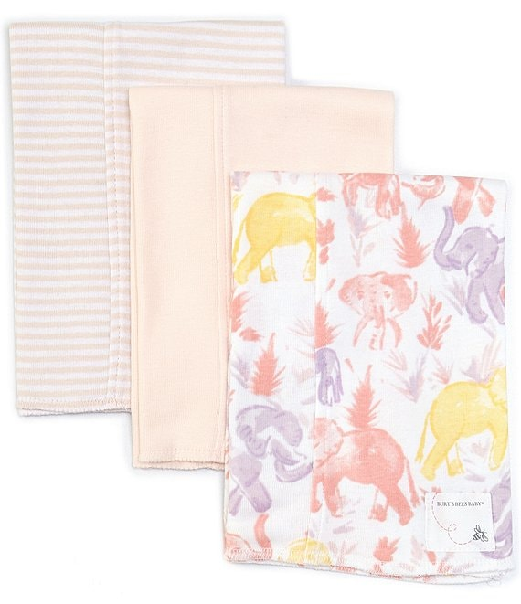 Color:Dawn - Image 1 - Burt's Bee's Baby Extra Absorbent Organic 3-Pack Ello Elephants Burp Cloth