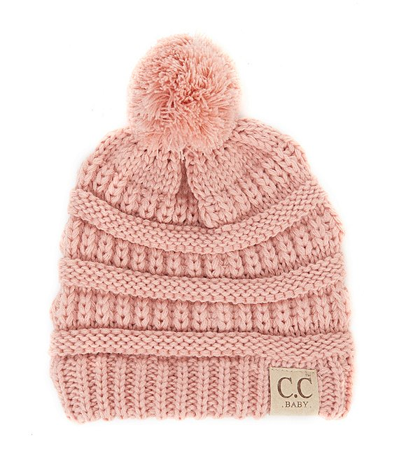 Color:Pink - Image 1 - Girls Pom Rib Beanie