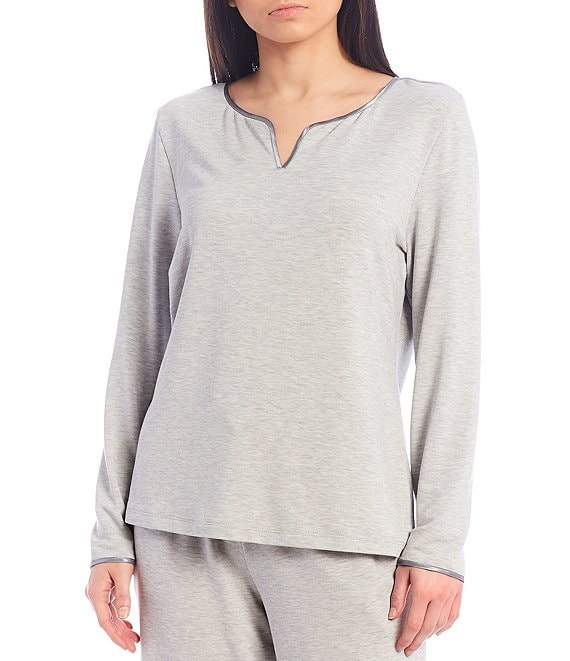 Color:Grey Heather - Image 1 - French Terry Satin Trim Notch V-Neck Sleep Top