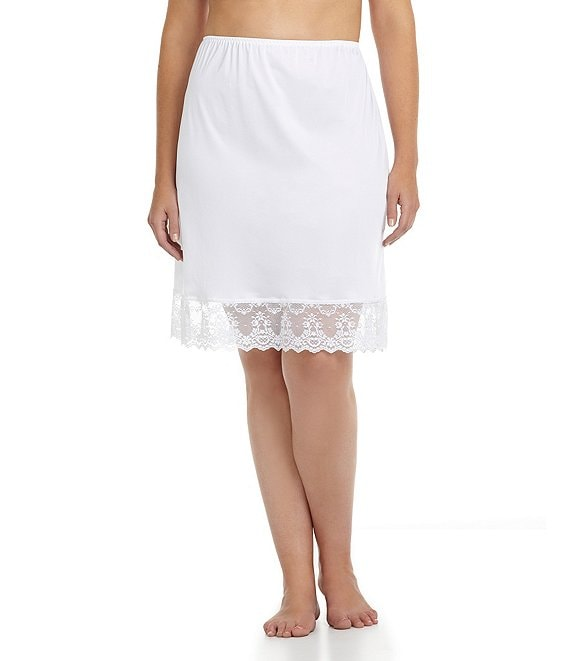 Color:Whiteness - Image 1 - Plus Chopper Half Lace Slip