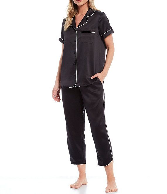 Color:Black - Image 1 - Solid Satin Woven Capri Pajama Set