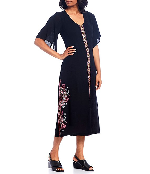 Color:Black Multi - Image 1 - Flutter Sleeve Embroidered V-Neck Short Sleeve Midi Dress