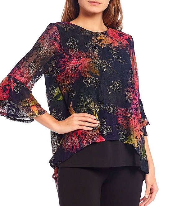 Color:Black Multi - Image 1 - Petite Size Leaf Print Bell Sleeve Hi-Low Tunic