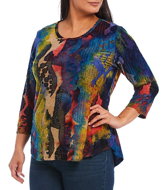 Color:Cobalt Multi - Image 1 - Plus Size Tie Dye Abstract Burnout Scoop Neck 3/4 Sleeve Tee