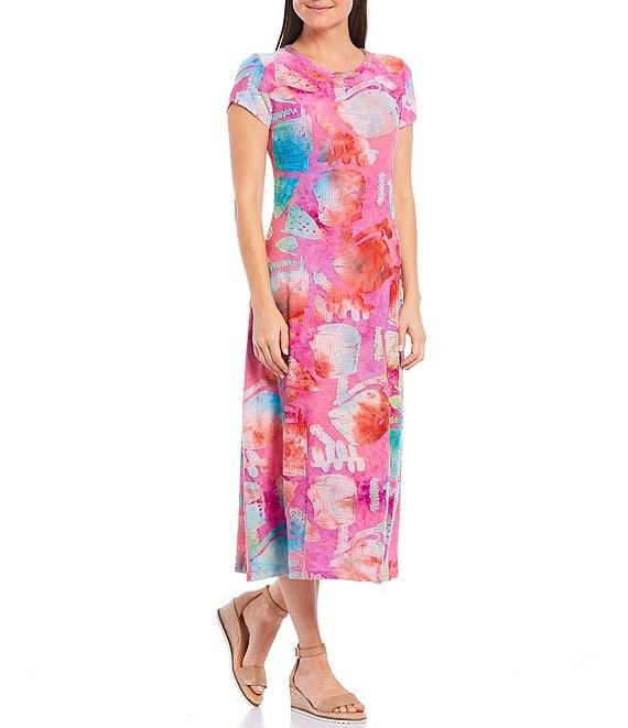 Color:Pink Multi - Image 1 - Round Neck Short Sleeve Abstract Print Midi Dress