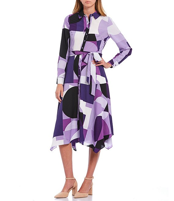 Color:Night/Soft White Multi - Image 1 - Abstract Geo Print Crepe de Chine Button-Front Handkerchief Hem Dress