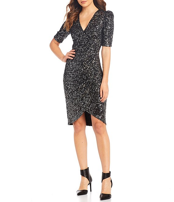 Color:Black/Silver - Image 1 - Allover Sequin Faux Wrap V-Neck Tulip Hem Dress