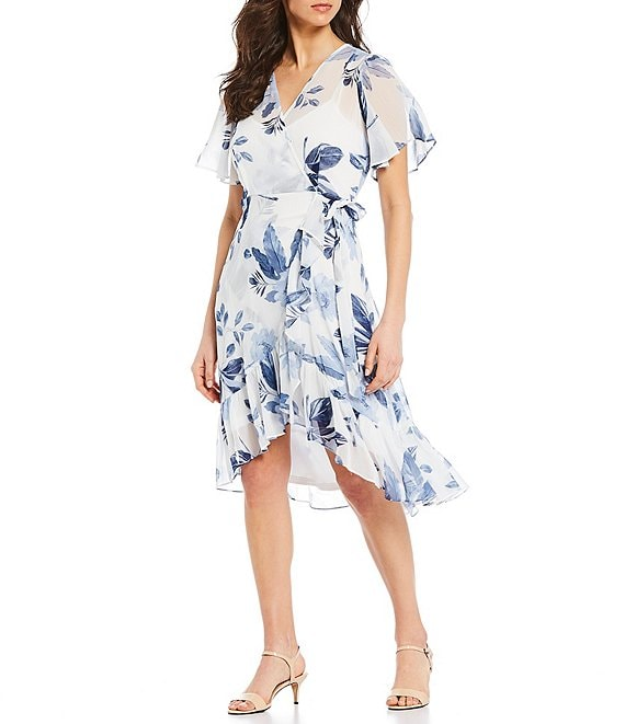 Color:Cream/Blue/Multi - Image 1 - Asymmetric Flounce Hem Floral Chiffon Flutter Sleeve V-Neck Midi Dress
