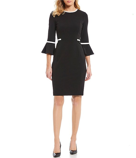 Color:Black/White - Image 1 - Bell Sleeve Piping Detail Dress