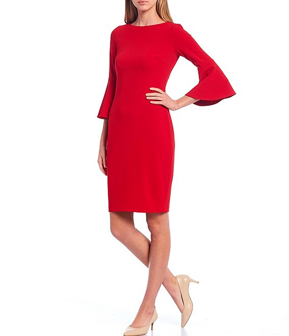 Color:Red - Image 1 - Bell Sleeve Sheath Dress