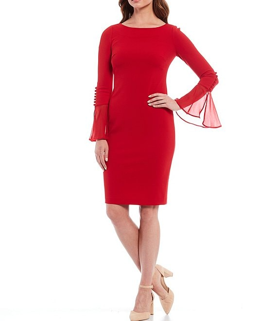Color:Red - Image 1 - Chiffon Bell Sleeve Sheath Dress
