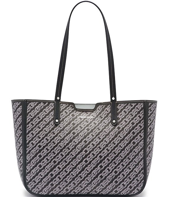 Color:Black/Black - Image 1 - Dilan Chain Link Print Leather Snap Tote Bag