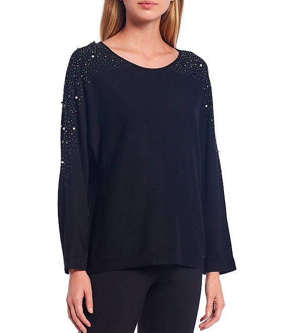 Color:Black - Image 1 - Fine Gauge Knit Embellished Long Dolman Sleeve Sweater