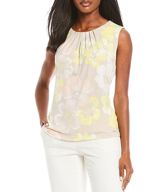 Color:Khaki/Zest Multi - Image 1 - Floral Print Matte Jersey Pleat Neck Sleeveless Top