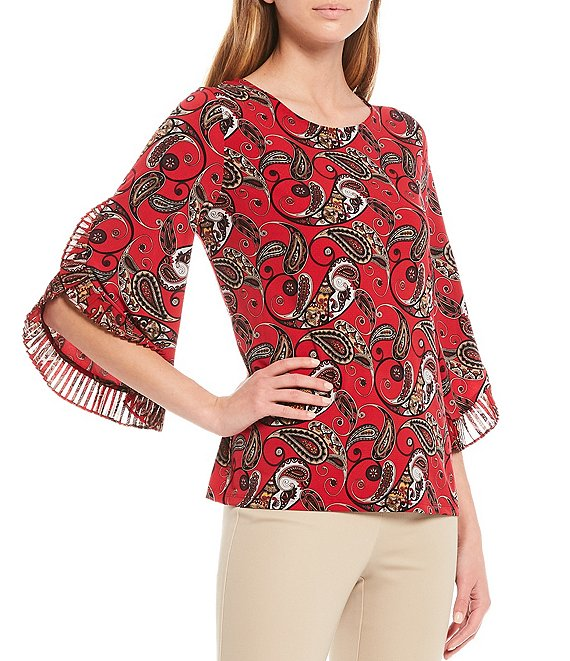 Color:Rouge Multi - Image 1 - Floral Print Matte Jersey Top With Pleated Chiffon Ruffle Trim Split Hem Sleeves