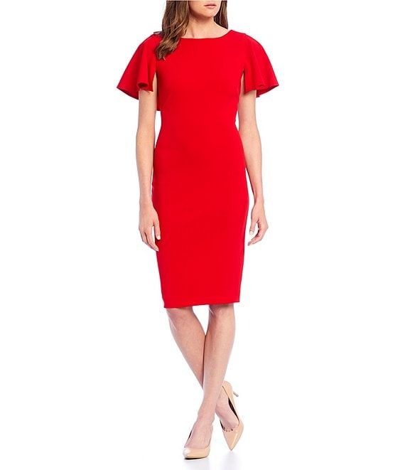 Color:Red - Image 1 - Flutter Cape Sleeve V Back Sheath Dress