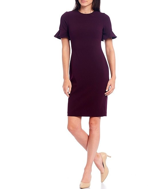 Color:Aubergine - Image 1 - Flutter Sleeve Sheath Dress