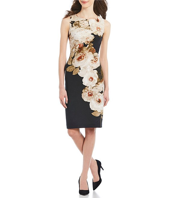 Calvin Klein Foil Floral Print Sheath Dress