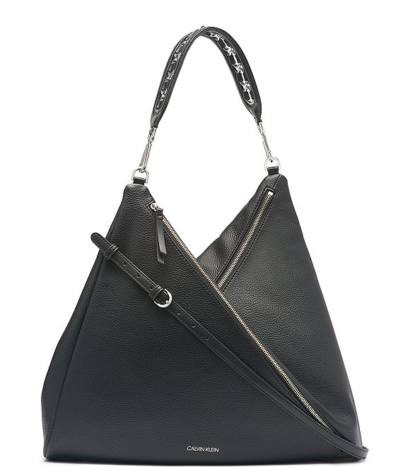 Color:Black/Silver - Image 1 - Geo Double Zip Hobo Bag