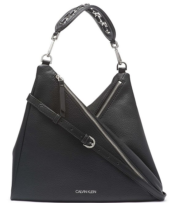 Color:Black Silver - Image 1 - Geo Double Zip Shoulder Bag