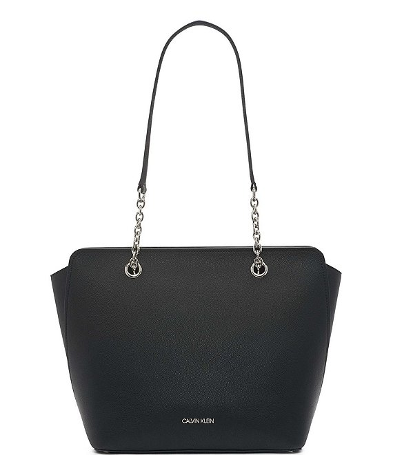 Color:Black silver - Image 1 - Hailey Pebbled Texture Tote Bag