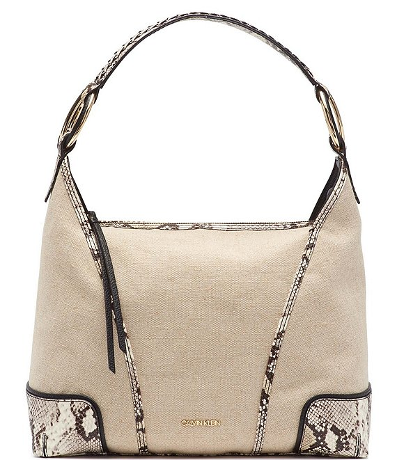Color:Natural/Black - Image 1 - Ivy Linen Python Hobo Bag