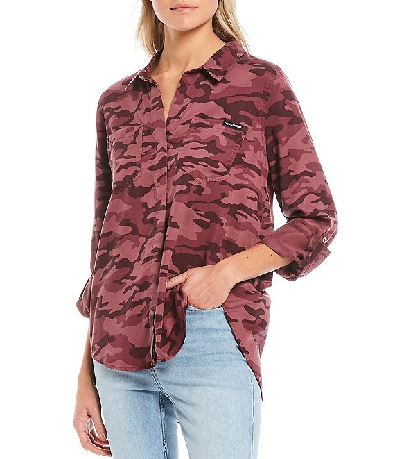 Color:Burgandy Camo - Image 1 - Jeans Camo Print Roll-Tab Sleeve Button Front Blouse