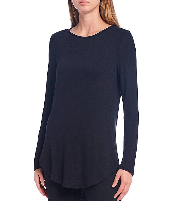 Color:Black - Image 1 - Knit Jersey Long Sleeve Hi-Low Tunic