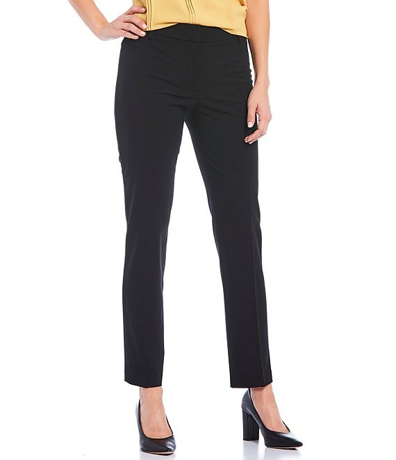Color:Black - Image 1 - Luxe Stretch Slim-Leg Pants