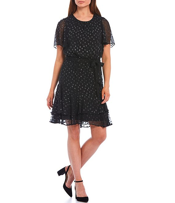 Color:Black/Silver - Image 1 - Metallic Dot Jacquard Short Sleeve Ruffle Hem Dress