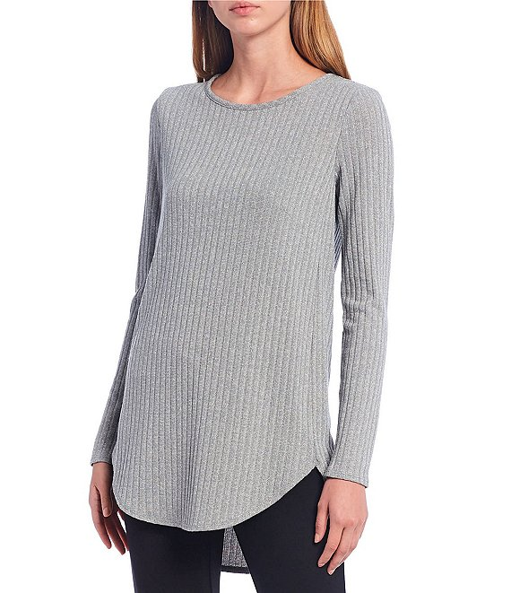 Color:Heather Granite - Image 1 - Metallic Ribbed Knit Long Sleeve Hi-Low Top