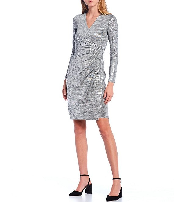 Color:Metallic - Image 1 - Metallic V-Neck Long Sleeve Ruched Waist Mock Wrap Dress