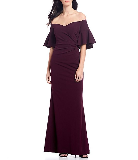 Color:Aubergine - Image 1 - Off-the-Shoulder Ruffle Scuba Crepe Gown