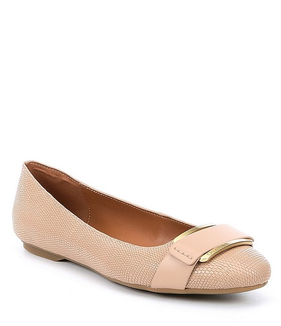 Calvin Klein Oneta Lizard Print Leather Flats