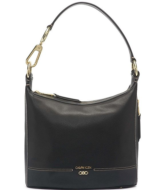 Color:Black/Gold - Image 1 - Pebble Leather Sophia Hobo Bag