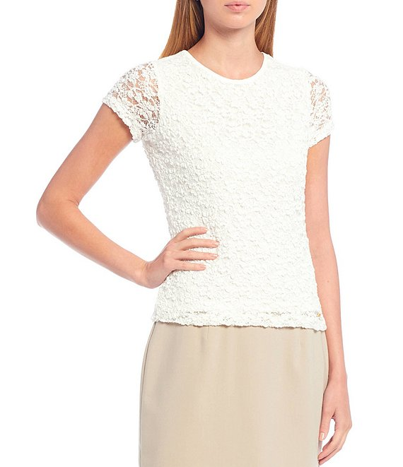 Color:Cream - Image 1 - Petite Size Short Sleeve Lace Tee