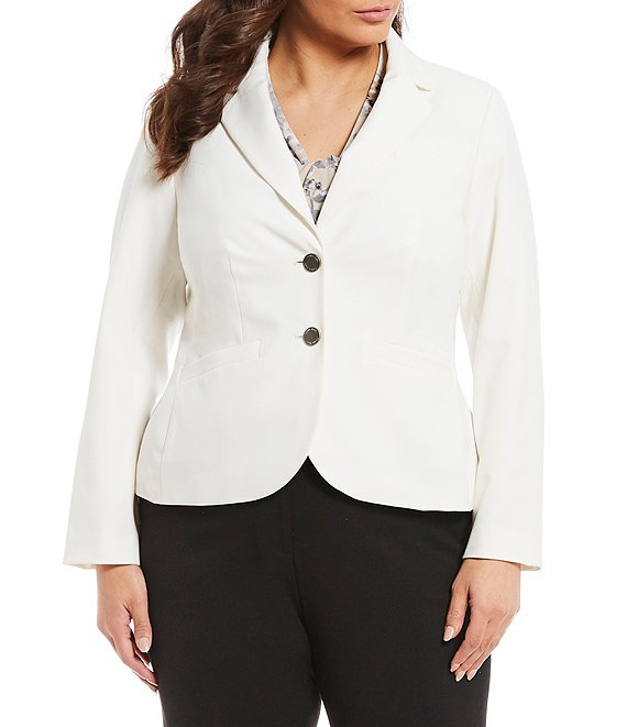 Color:Cream - Image 1 - Plus 2-Button Suit Jacket