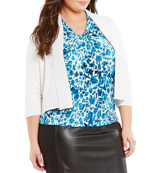 Color:White - Image 1 - Plus Size 3/4 Sleeve Open Front Shrug