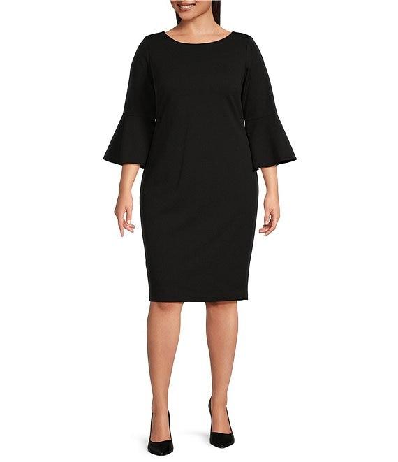 Calvin Klein Plus Size Round Neck Bell Sleeve Sheath Dress