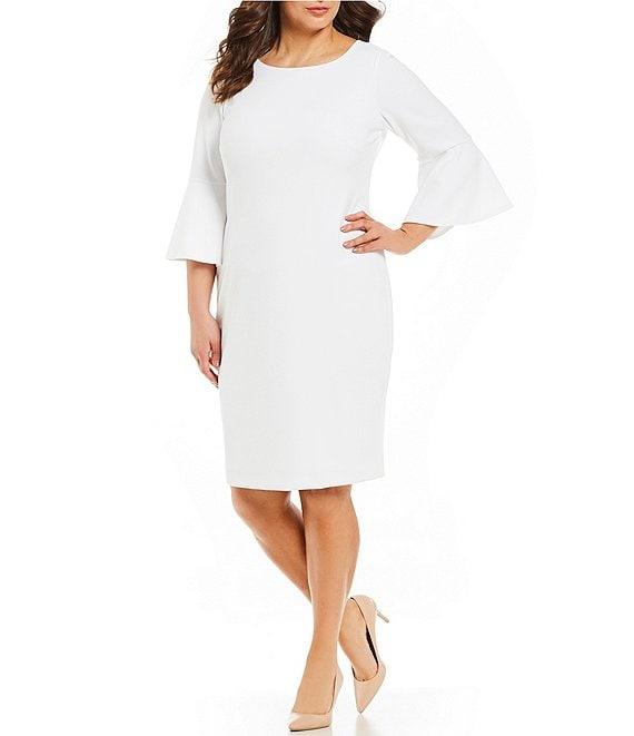 01674f59ce Calvin Klein Plus Size Round Neck Bell Sleeve Sheath Dress