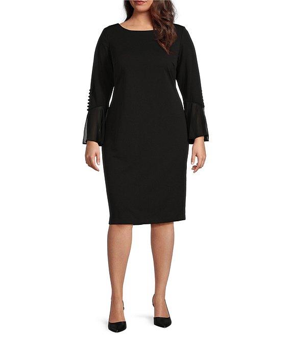 Calvin Klein Plus Size Bell Sleeve Sheath Dress
