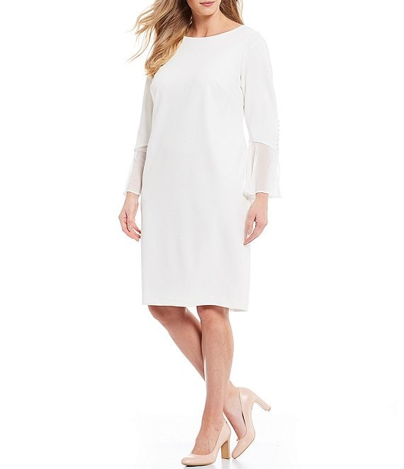 Calvin Klein Plus Size Bell Sleeve Sheath Dress