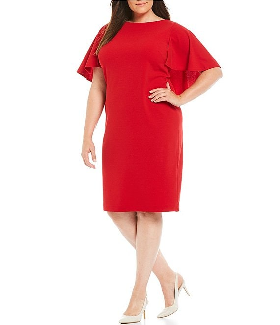 Calvin Klein Plus Size Flutter Cape Sheath Dress