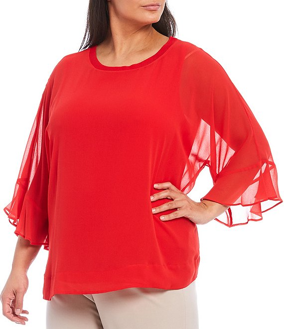 Color:Dark Watermelon - Image 1 - Plus Size Solid Chiffon 3/4 Flutter Sleeve Top