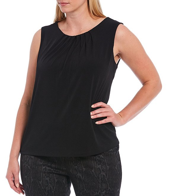 Color:Black - Image 1 - Plus Size Solid Matte Jersey Pleat Neck Sleeveless Top