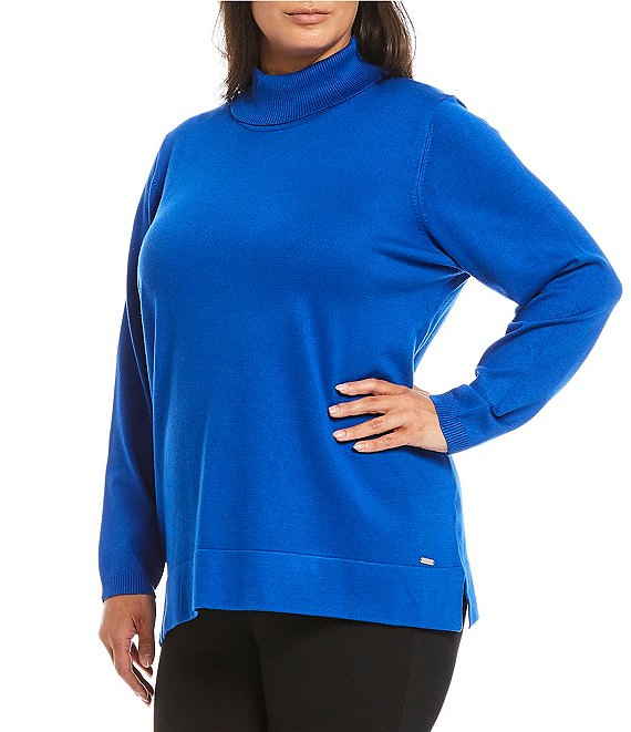 Color:Celestial - Image 1 - Plus Size Solid Turtleneck Sweater