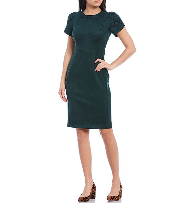 Color:Malachite - Image 1 - Round Neck Tulip Sleeve Scuba Crepe Suede Sheath Dress