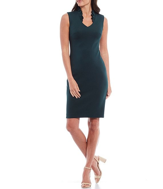 Color:Malachite - Image 1 - Ruffle Stand Collar V-Neck Sleeveless Sheath Dress